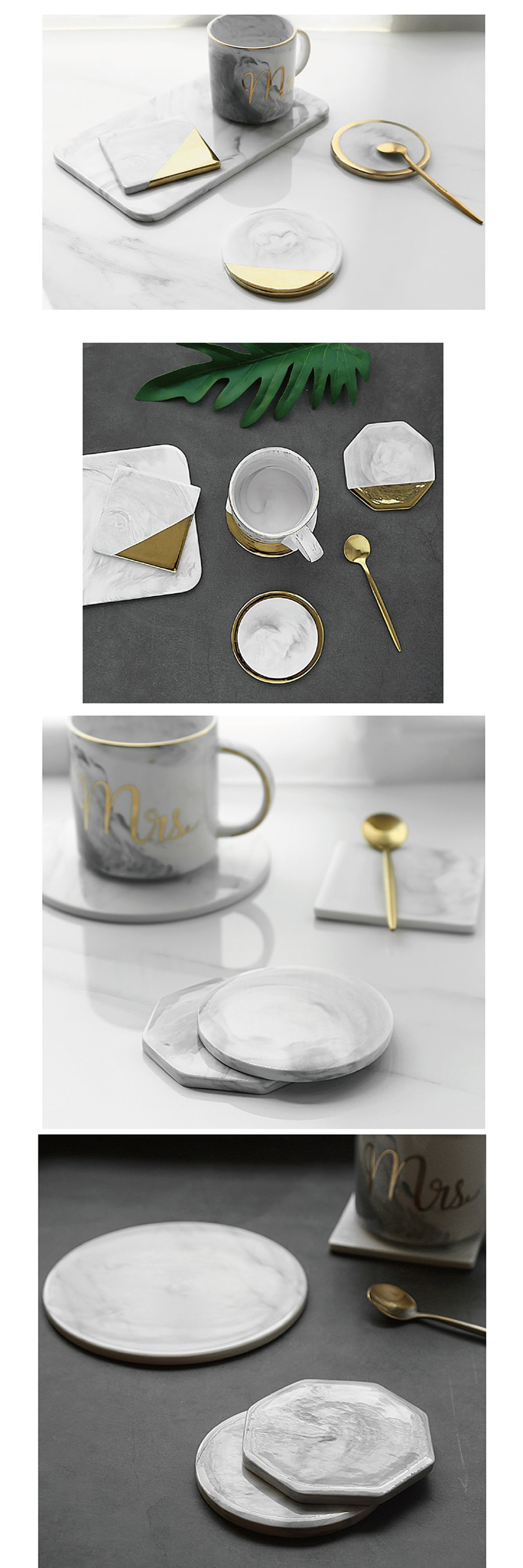 Marble Golden Trim Coaster Get Cool Scandinavian-Style Ceramic Coasters