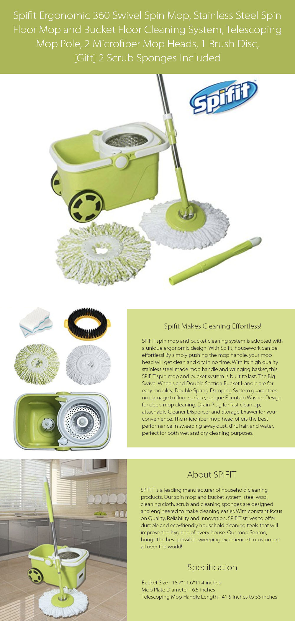 Spin Mop and Bucket Cleaning Set Ergonomic 360 Swivel Spin Mop