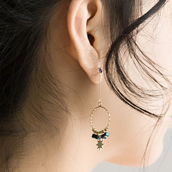 Moon Star Chain Hoop Earrings