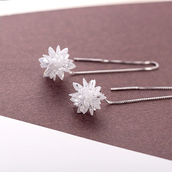 Crystal Starburst Silver Earrings