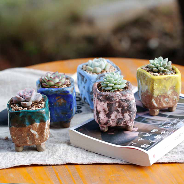 Mini Footed Cube Pot