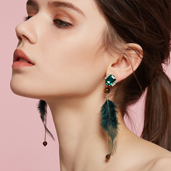 Gem & Feather Earrings