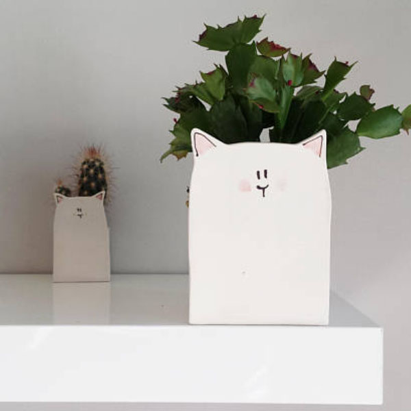White Cat Planter