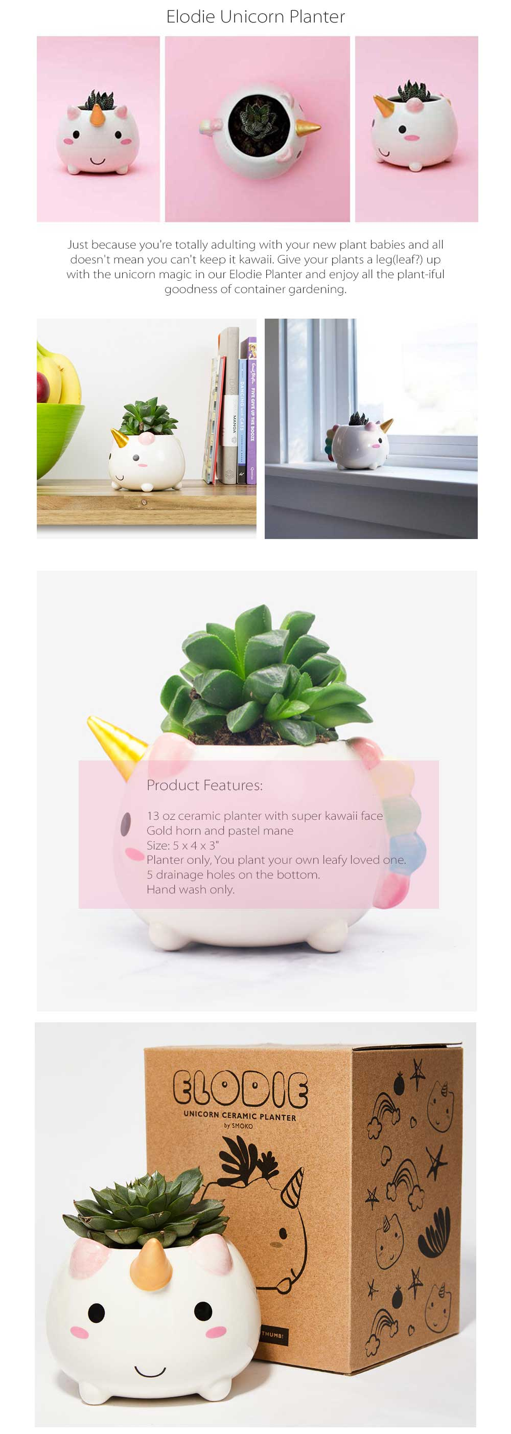ELODIE UNICORN PLANTER Take This Cute Unicorn Home