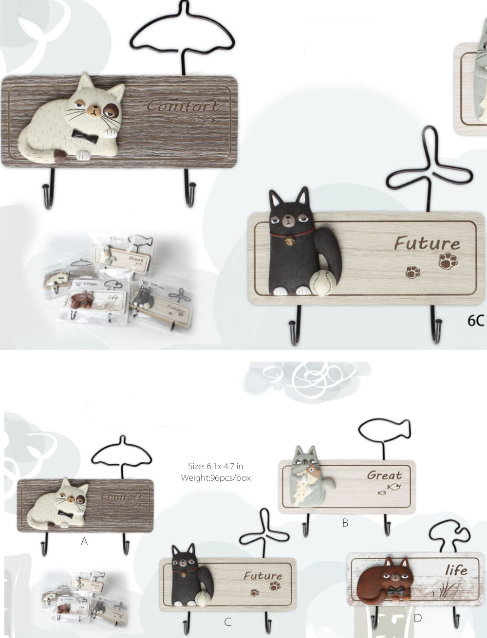 Cat Wall Hook Adorable Wall Decoration