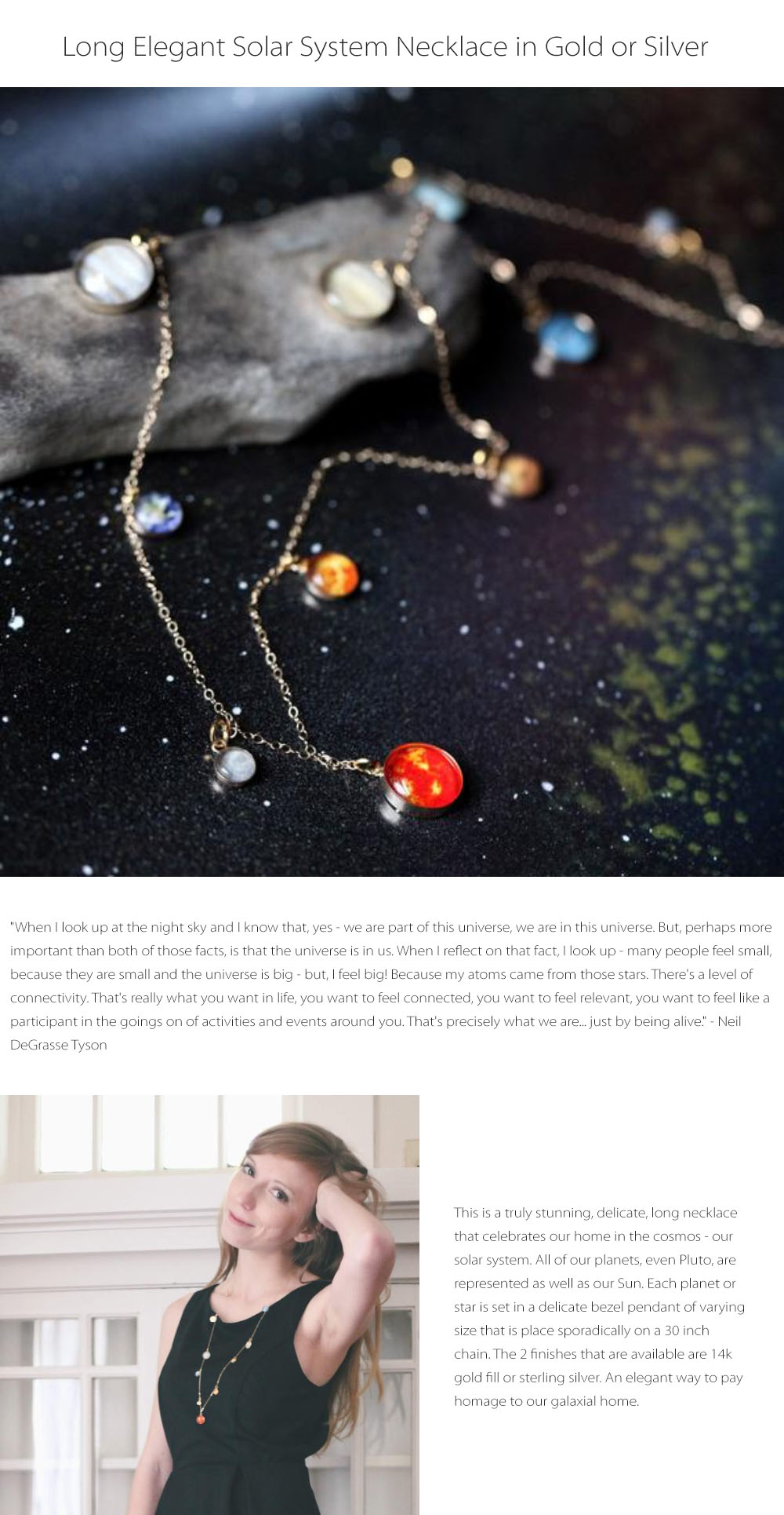 Solar System Long Necklace Elegant Look