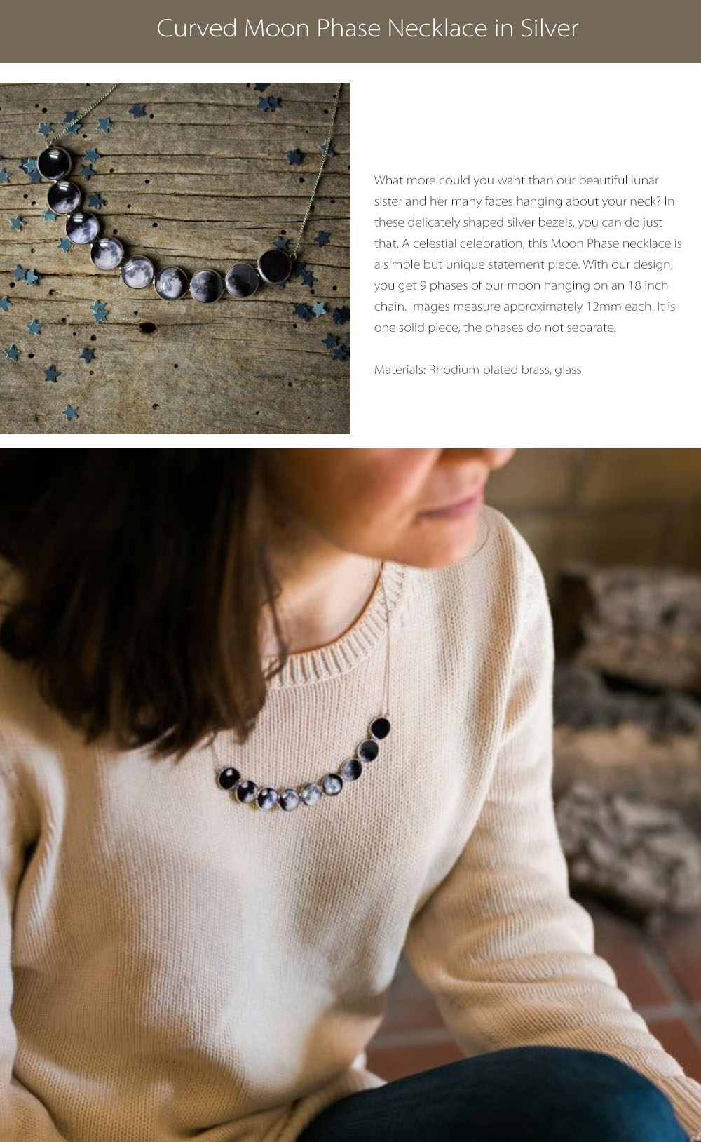 Curved Moon Phase Necklace  Silver Collection
