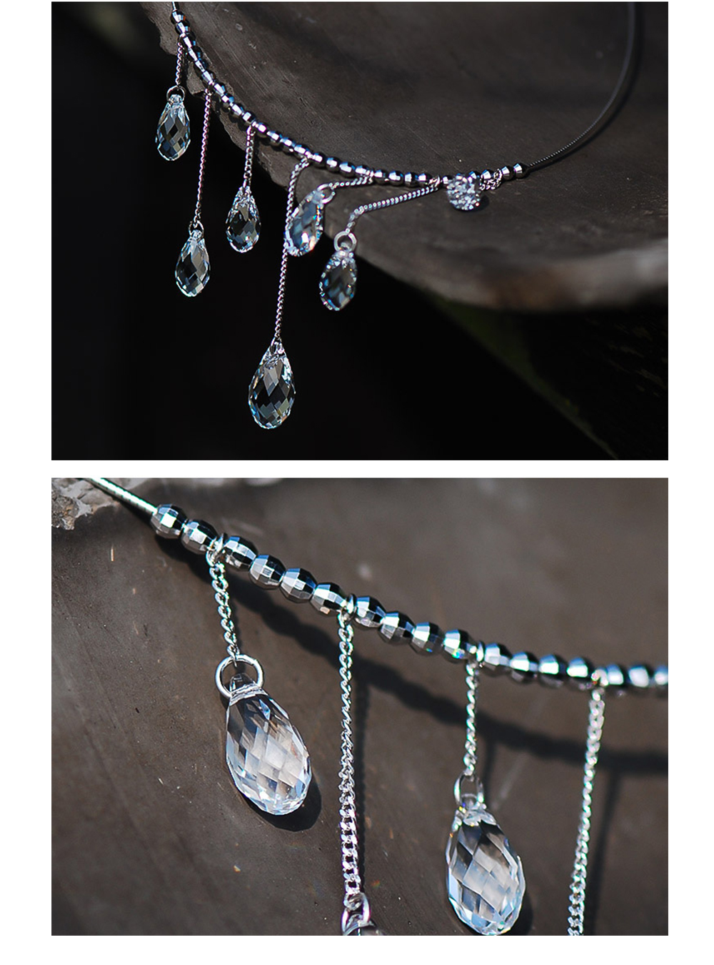 Water Drop Tassel Chain Necklace Sterling Silver Jewelry