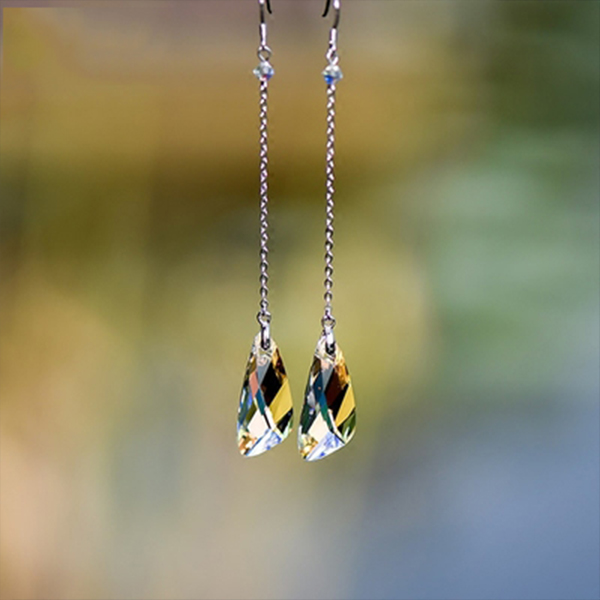 Product Image For Crystal Long Drop Earrings