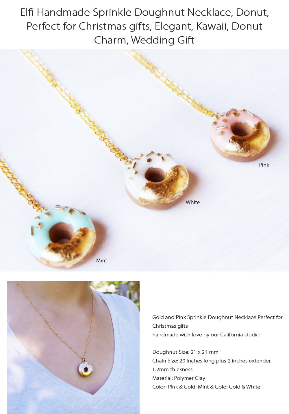 Gold Donuts Pendant Necklace Handmade Charm