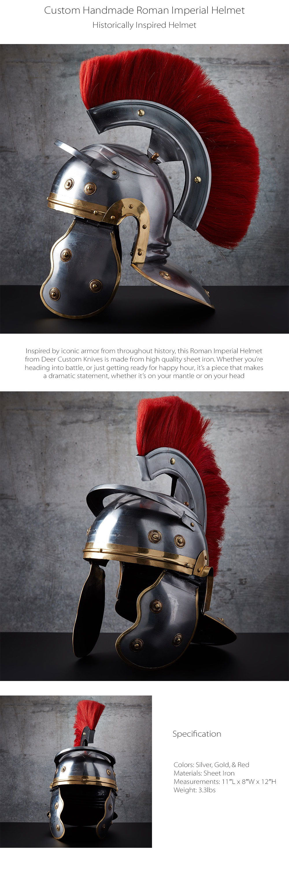 Custom Handmade Roman Imperial Helmet Inspired By Iconic Armor From Throughout History