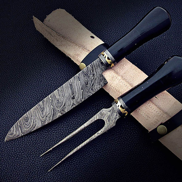 product image for Damascus Chef Knife & Fork Set