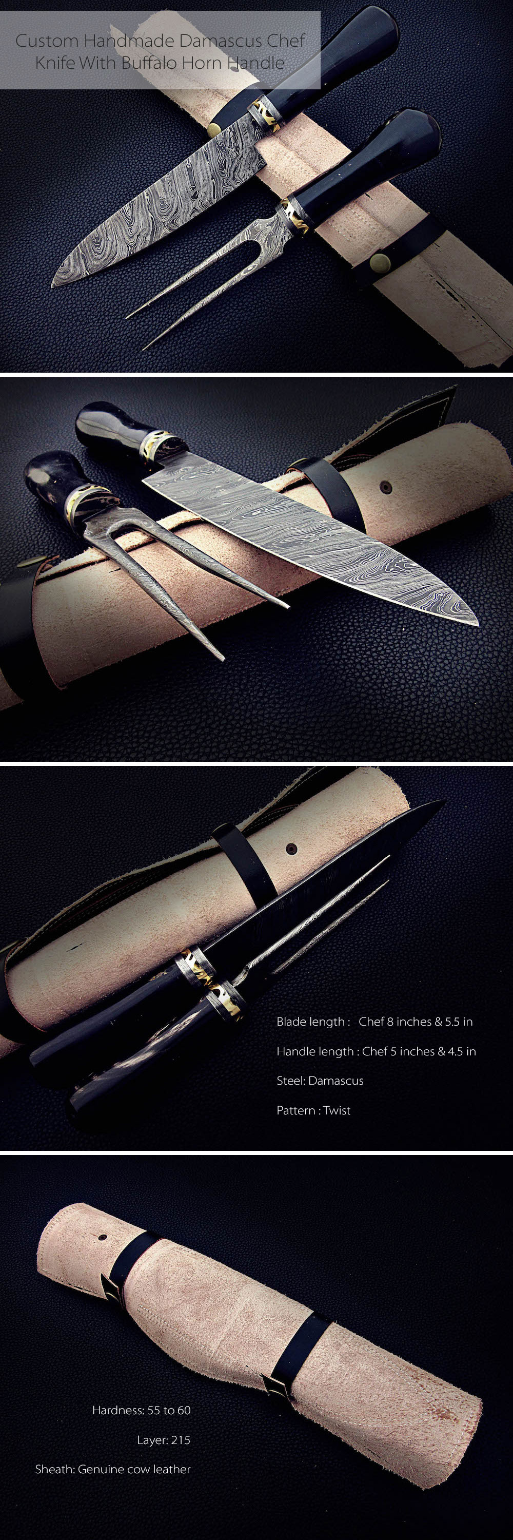 Custom Handmade Damascus Chef Knife With Buffalo Horn Handle Wonderful High Quality Handmade Chef/Kitchen Knives