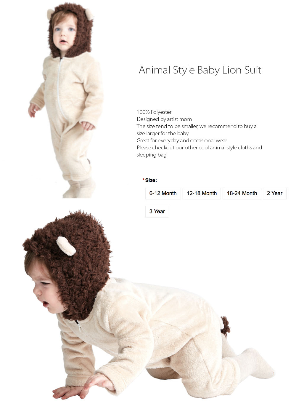Animal Style Baby Lion Suit Cute Design