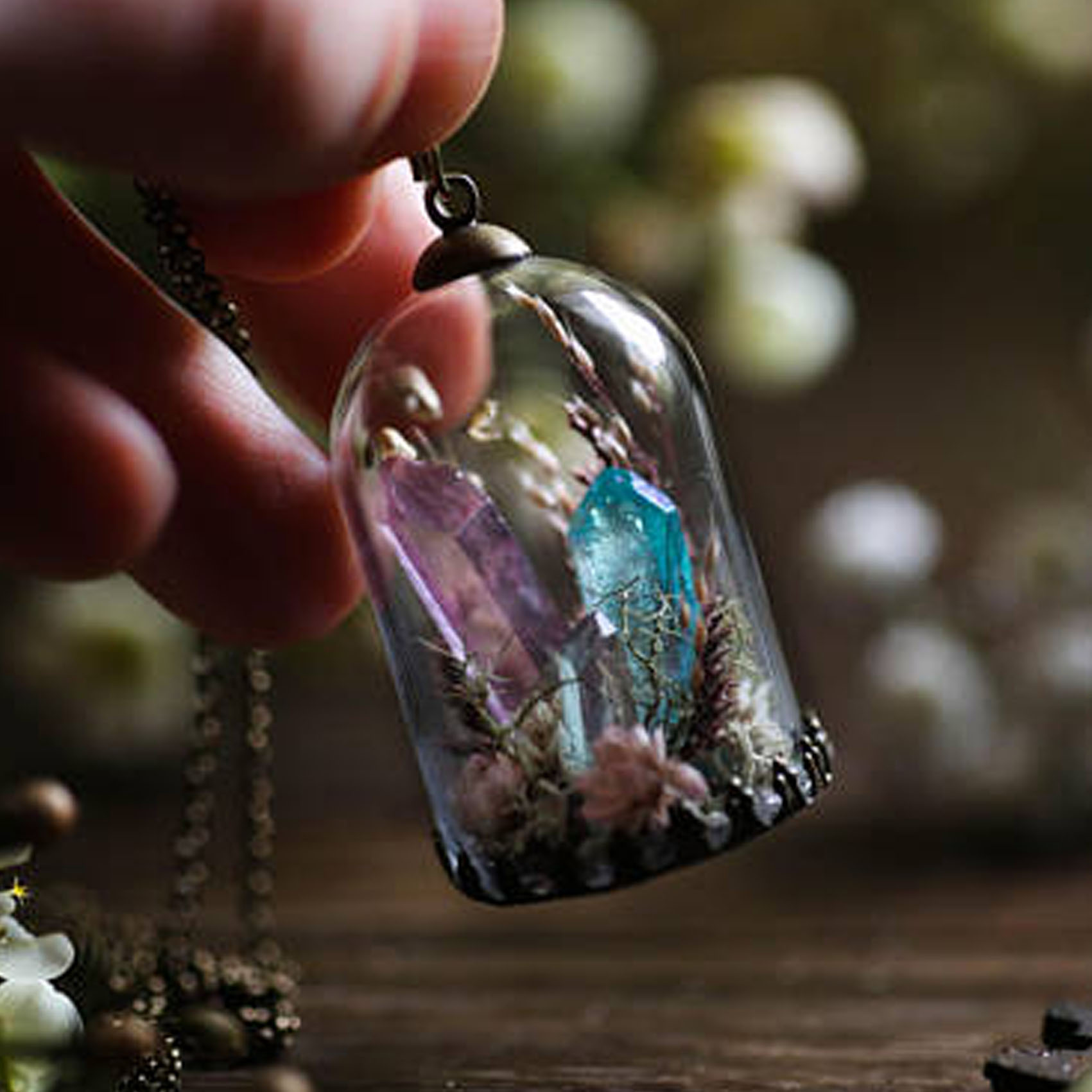 product image for Aura Quartz Crystal Terrarium Necklace