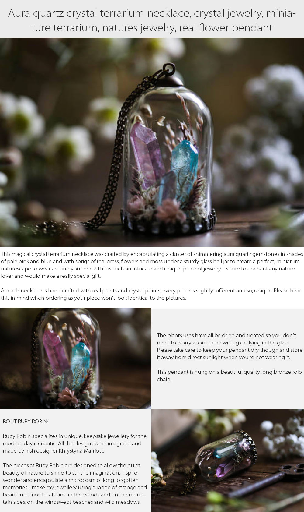 Aura Quartz Crystal Terrarium Necklace Miniature Terrarium