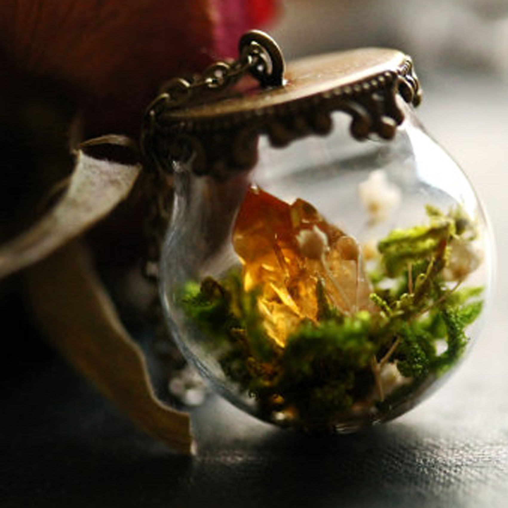 Citrine Crystal Terrarium Necklace