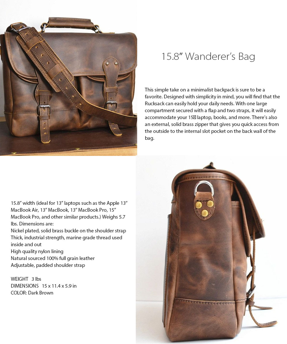 15.8″ Wanderer's Bag Unique and Handmade Style
