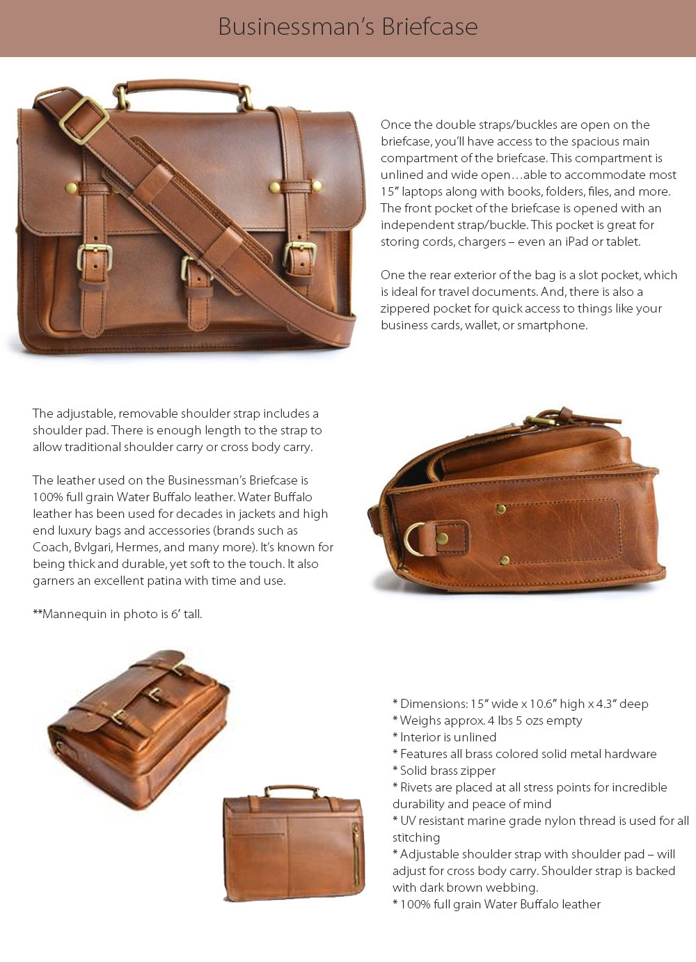 Businessman's Briefcase Water Buffalo Leather