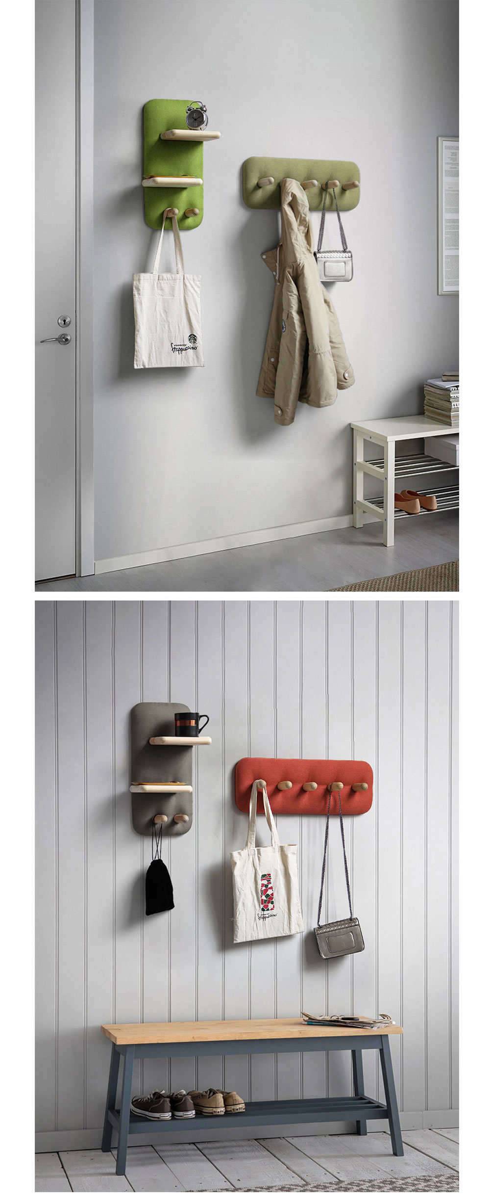 Nordic Wood Wall Mount Rack Unique Design for Your Wall