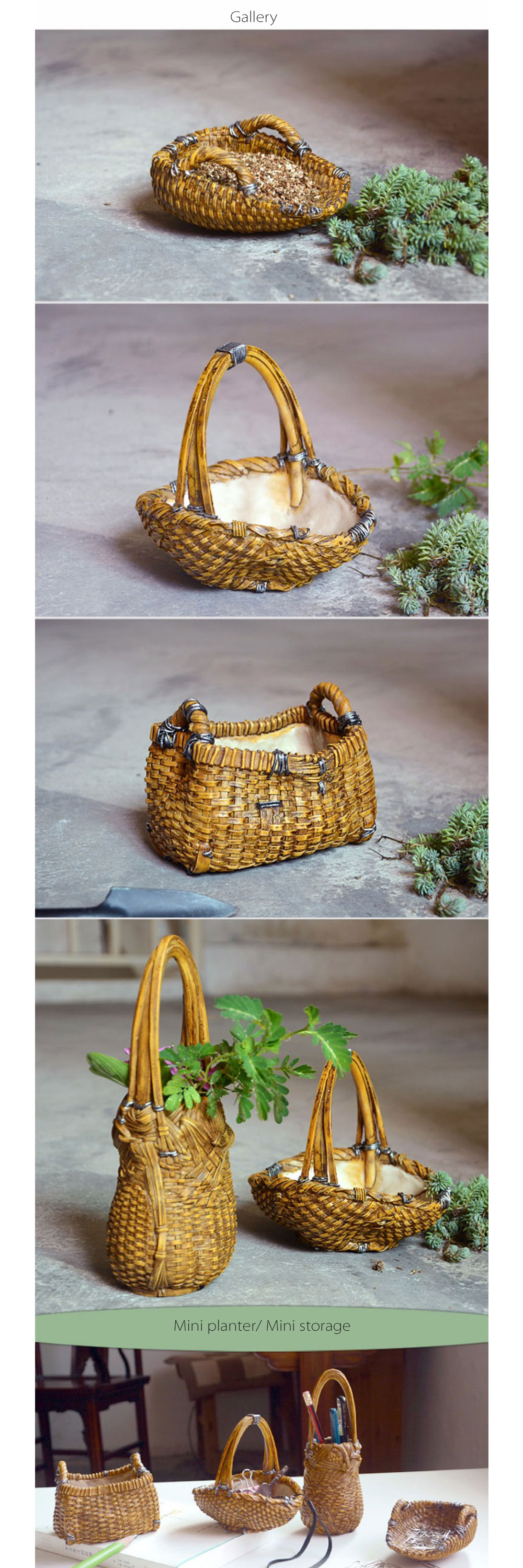 Mini Basket Shape Resin Flowerpot Unique Home Decoration