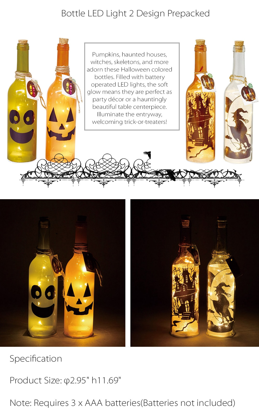 Bottle LED Light / 2 Design Prepacked For Your Halloween Decoration