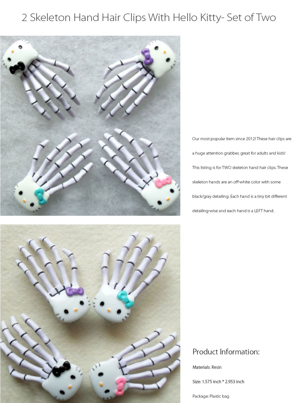Skeleton Hand Hair Clip Funky And Cute