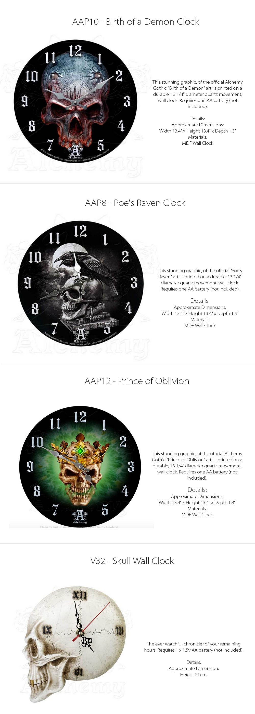 Skull Clocks Designed in England