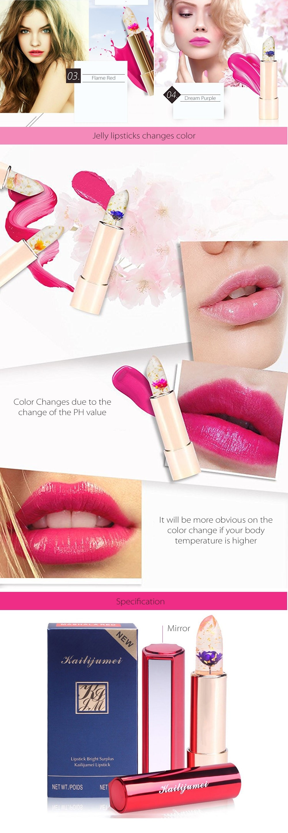 Jelly lipsticks Changes Color According to Your Temperature