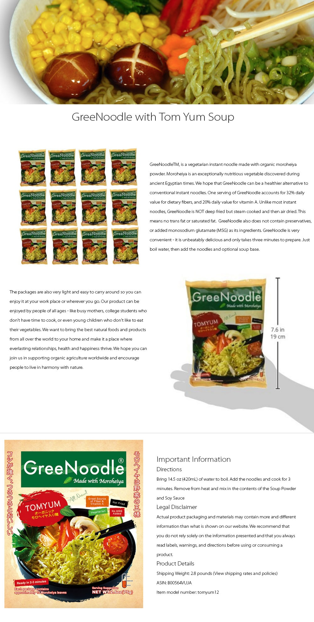 GreeNoodle with Tom Yum Soup (12 count) Healthy and Delicious