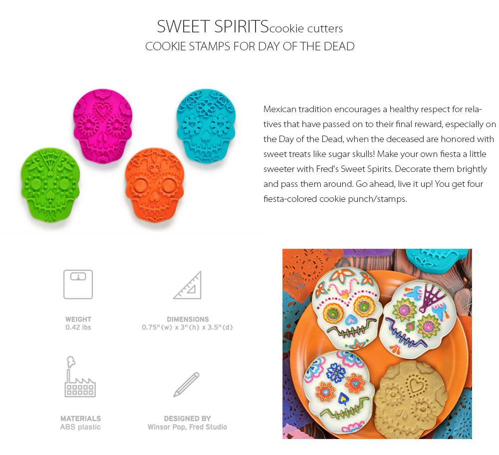 Sweet Spirits Cookie Cutters Cookie Stamps For Day Of The Dead