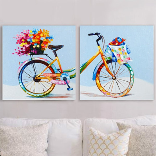 Wall Art Set Of 2 pointillism bicycle painting wall art (set of 2) - apollobox