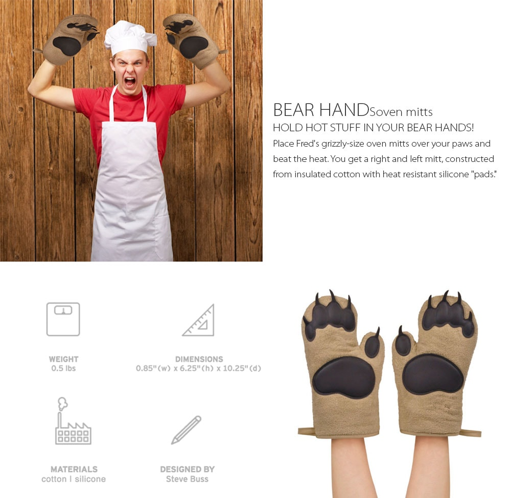 Bear Hands Oven Mitts Hold Hot Stuff In Your Bear Hands!
