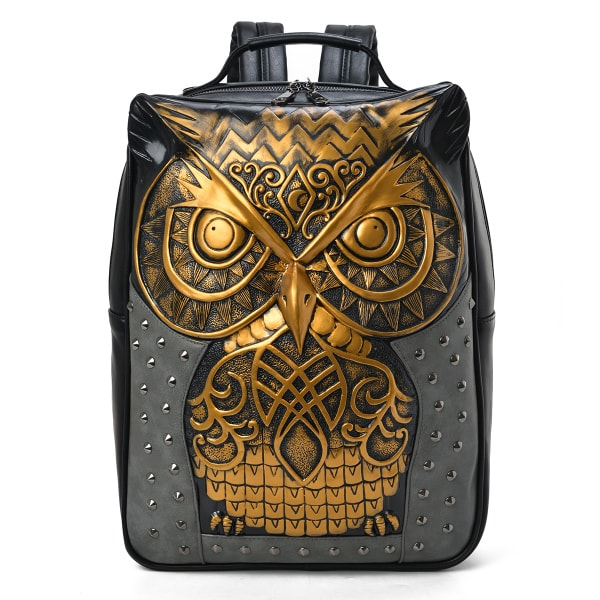 3D Embossed Owl Studded Backpack