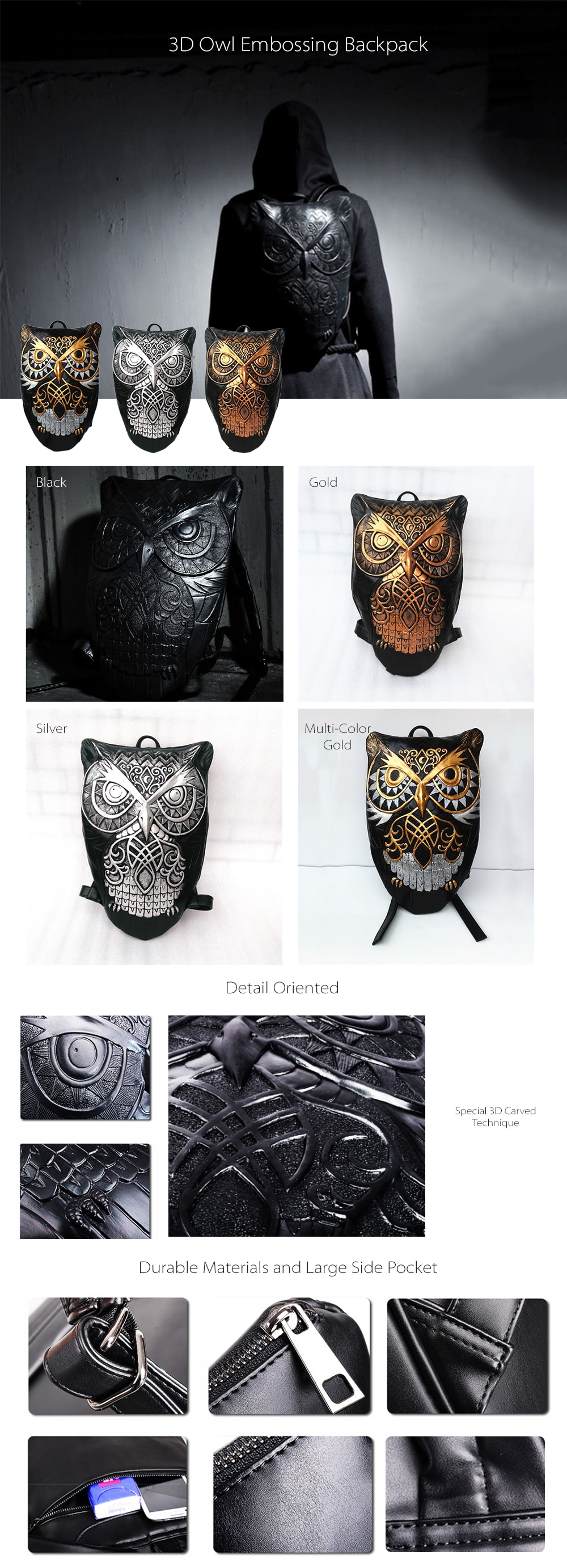 3D Owl Embossing Backpack Stylish Backpack For Everyday Use