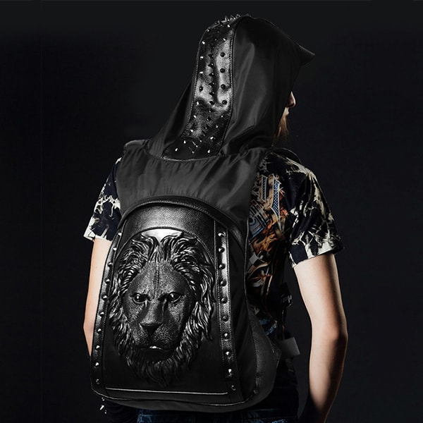 3D Lion Head Backpack With Cap