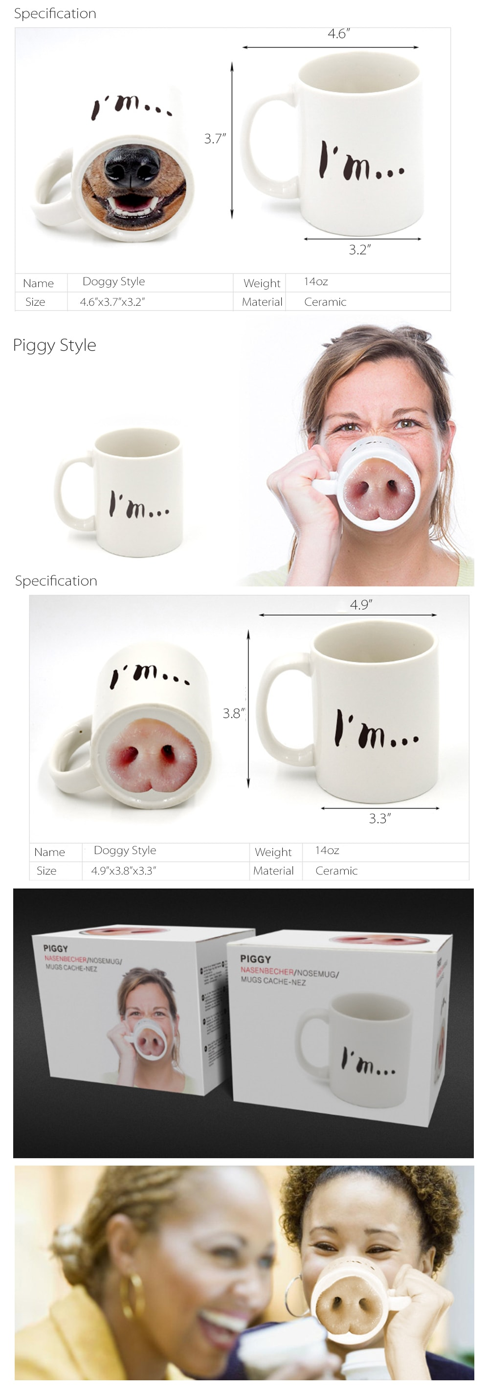 Doggy And Piggy Mug Drinking Makes Fun