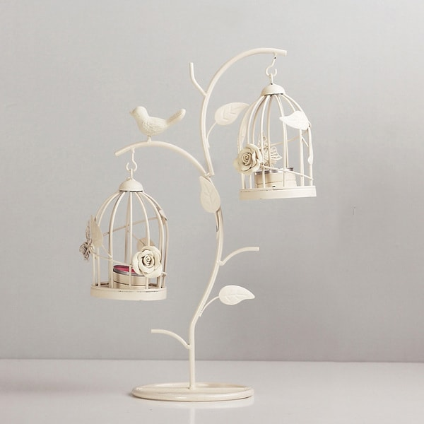Bird Cages And Nesting Branches Candle Holders