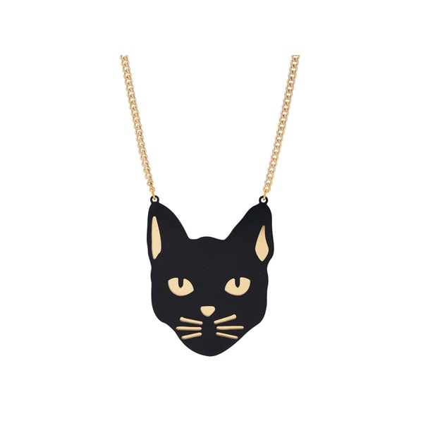 10x1 Black Cat Sweater Necklace