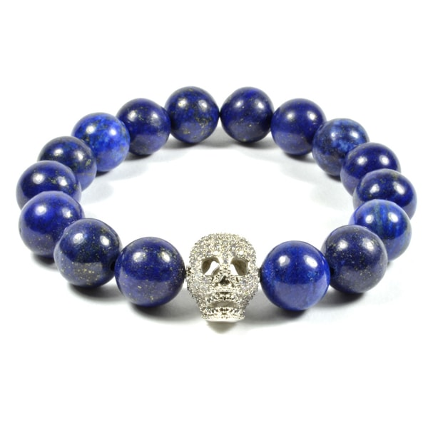 12MM LAPIS LAZULI STONE AND CZ GOLD FILLED SKULL