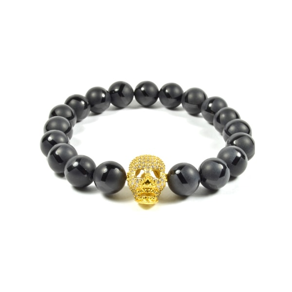 10MM BLACK ONYX AND CZ GOLD FILLED SKULL
