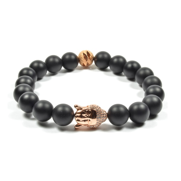 10 MM MATTE ONYX AND ROSE GOLD BUDDHA BRACELET
