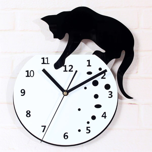 Cat Fish Wall Stickers Clock