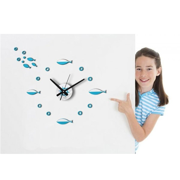 DIY Fish Wall Stickers Clock