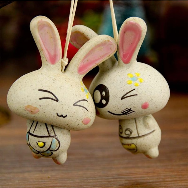 Smile Rabbit Ceramic Windbell